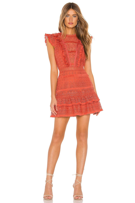SAYLOR Carlotta Dress in Terra Cotta