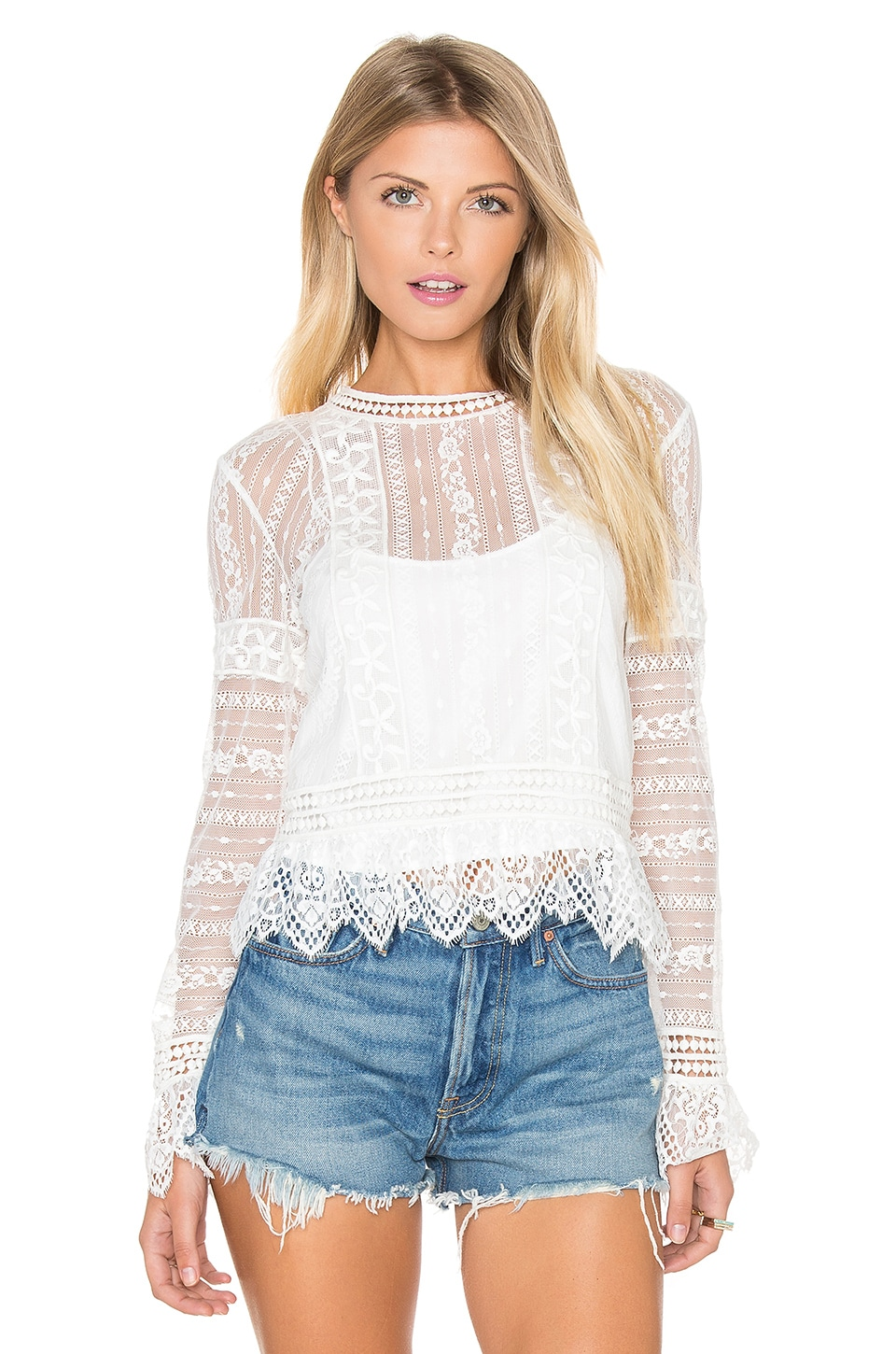 SAYLOR Gwenyth Top in Ivory