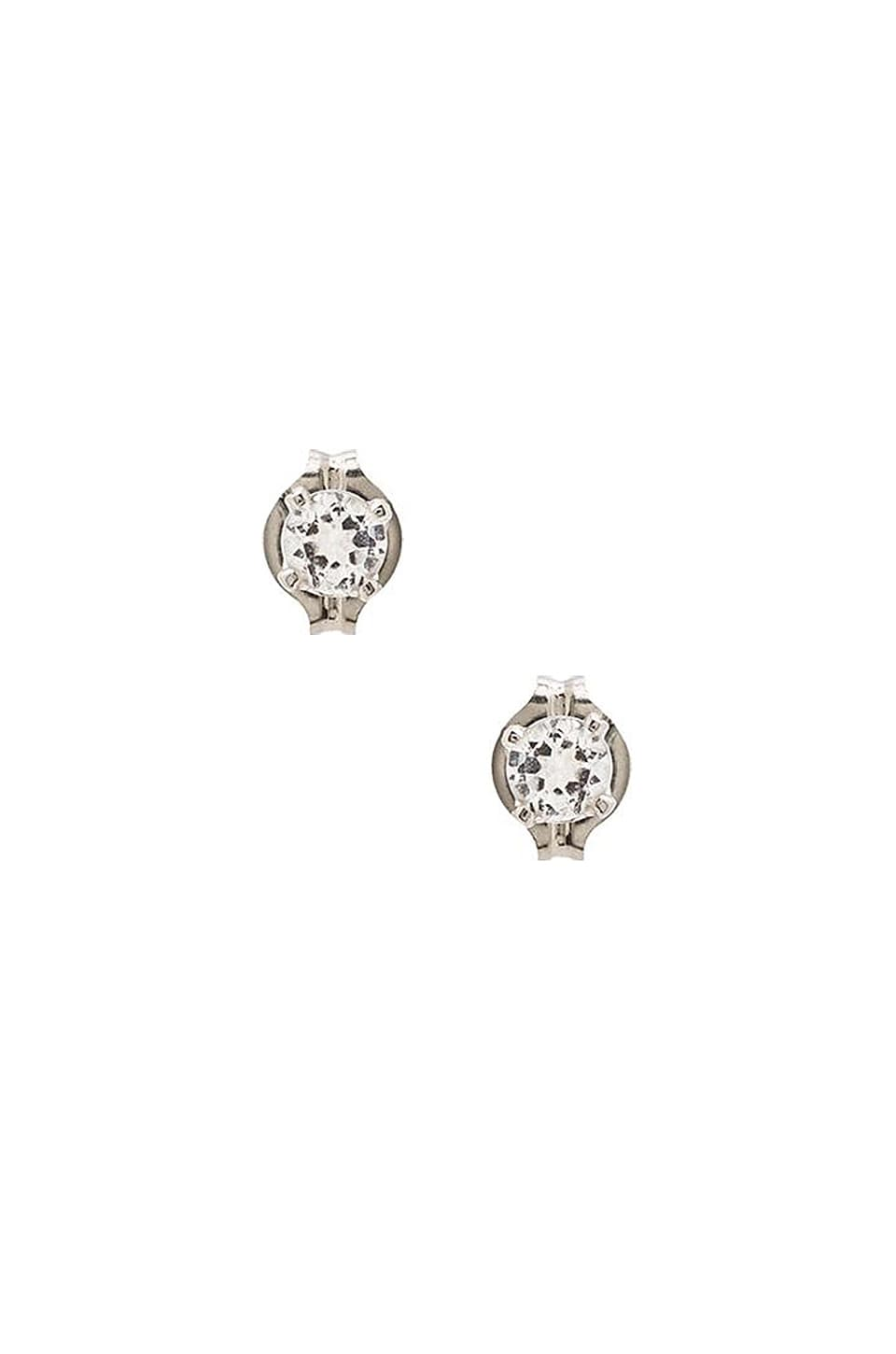 Stella and Bow Beatrice Earring in Silver & White Topaz