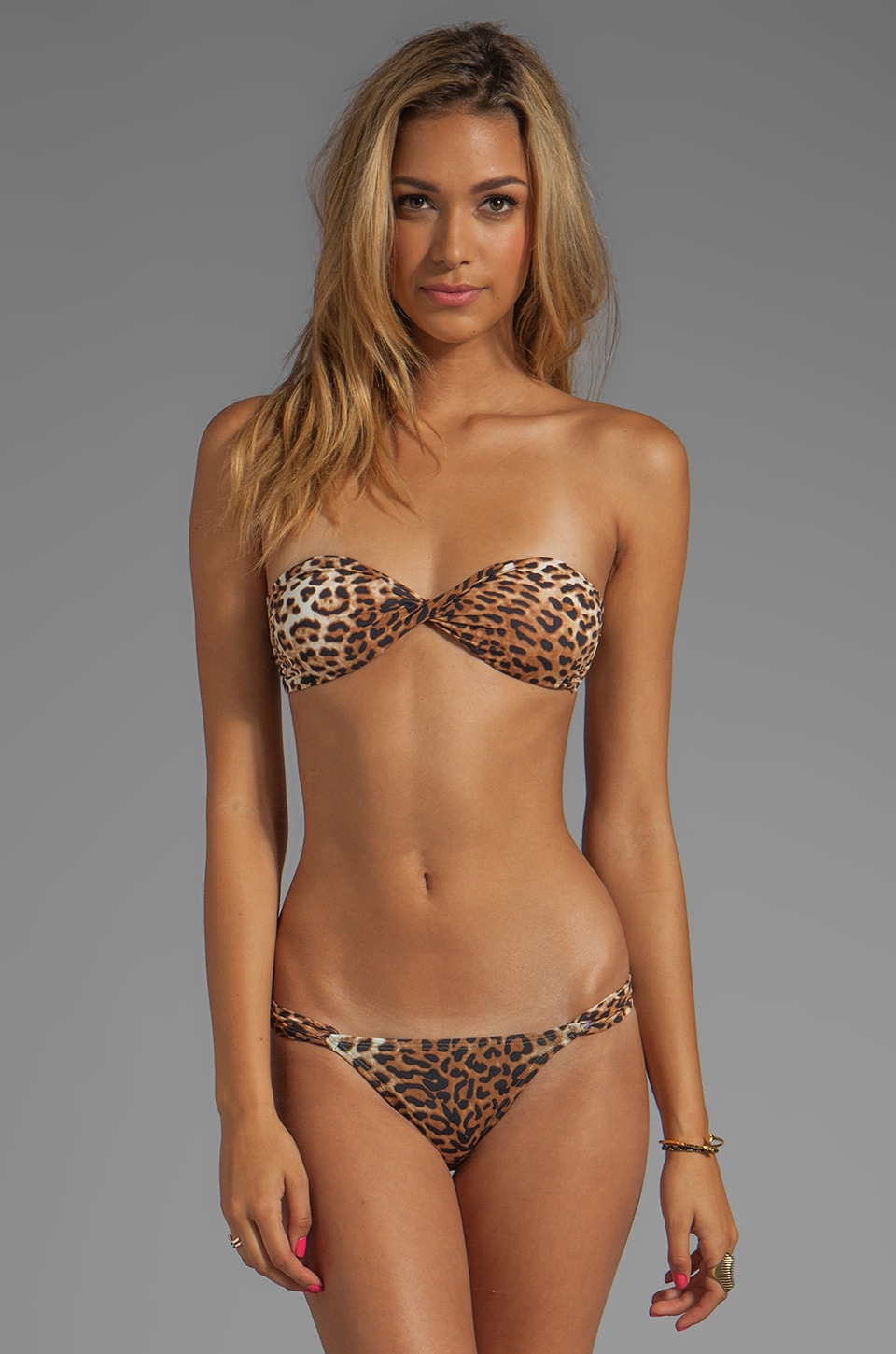 Vix Swimwear Native Twisted Bandeau Top in Leopard
