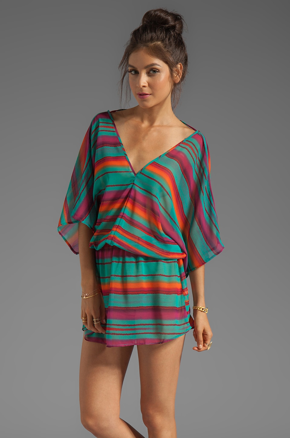 Vix Swimwear Lima Kaftan in Digital Stripe