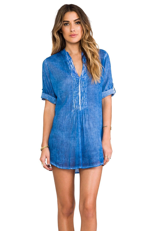 Vix Swimwear Mini Folds Shirt in Solid Dark Blue