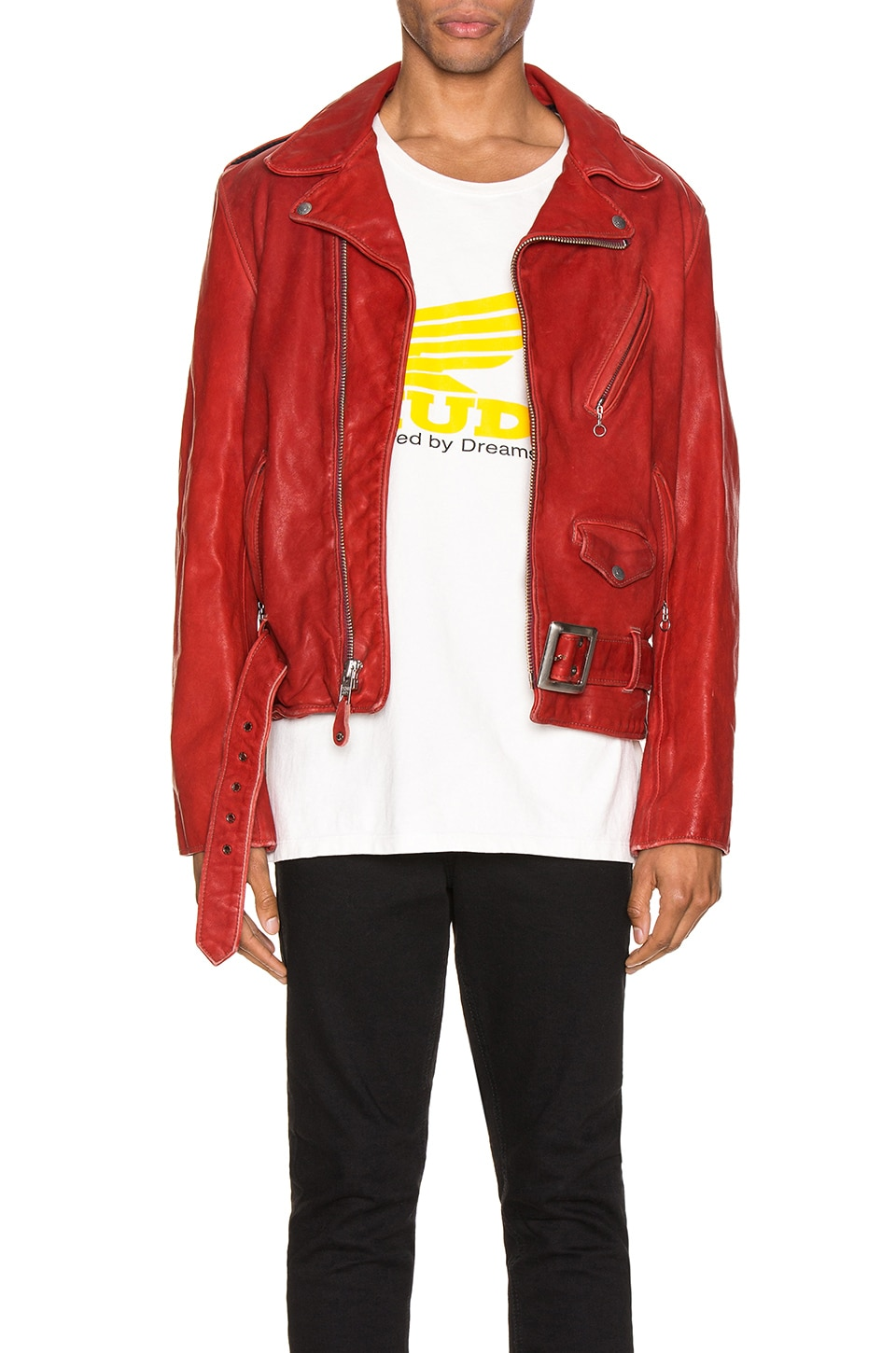 Schott P614 Leather Perfecto Jacket in Red