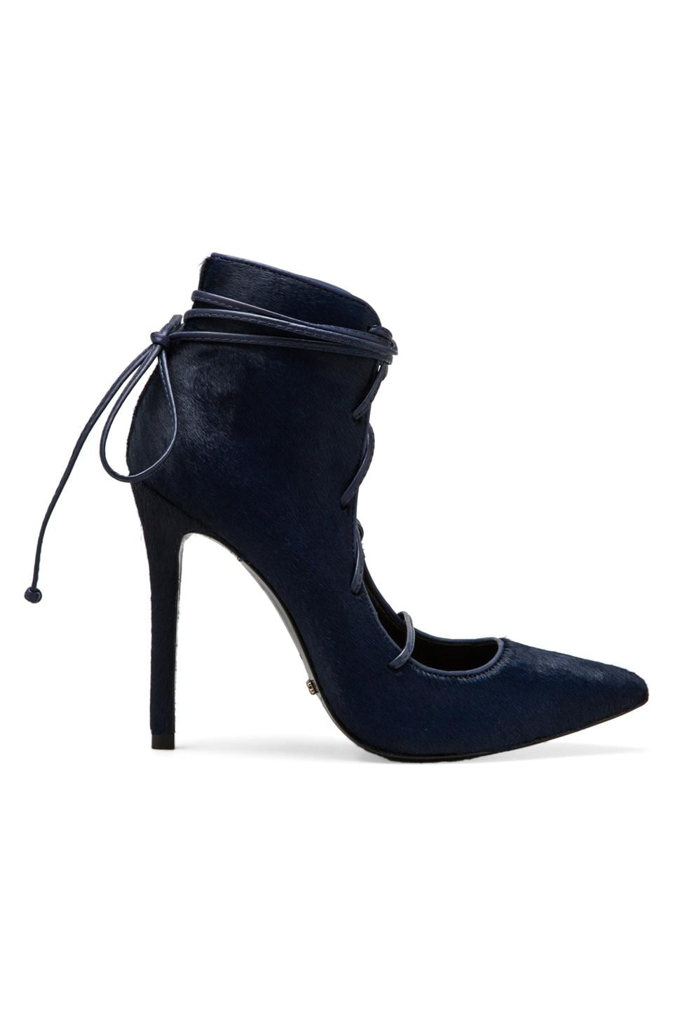 Schutz Alameda Heel with Calf Fur in Sailfish