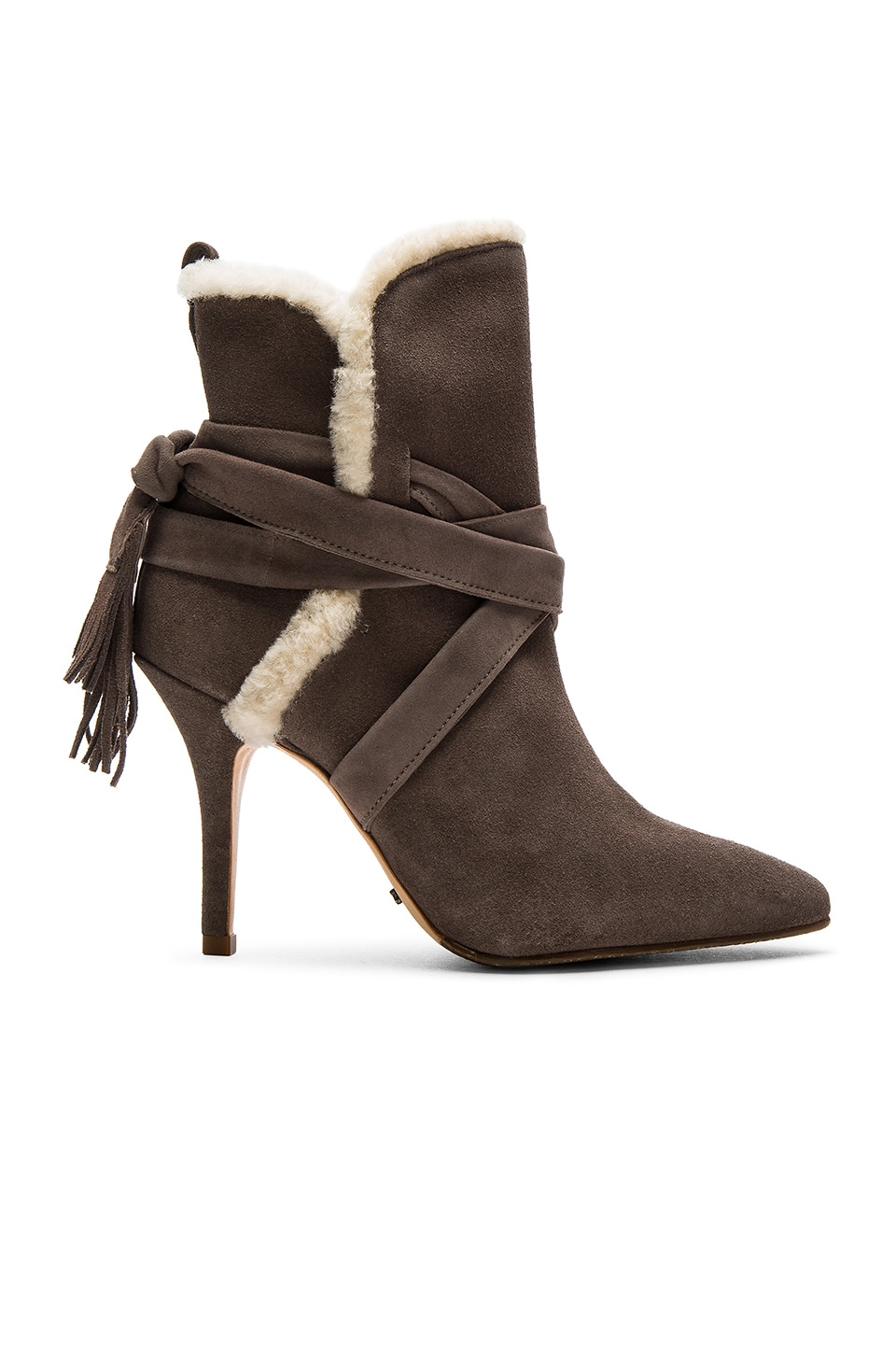 Schutz Finn Sheep Fur Bootie in Neutral Gray Cream