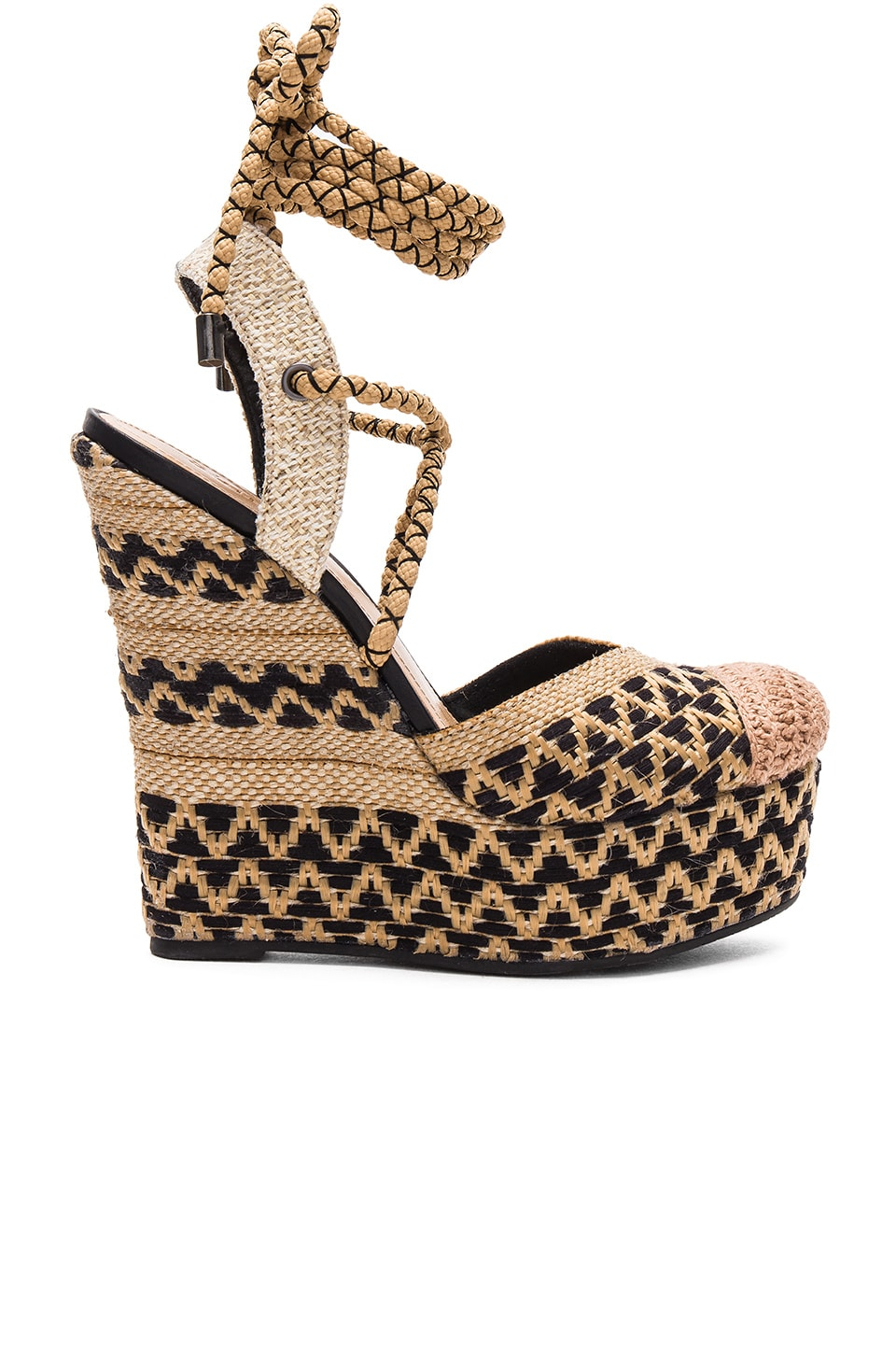 WOMAN AMANDINHA WOVEN ESPDARILLE WEDGE SANDALS BEIGE