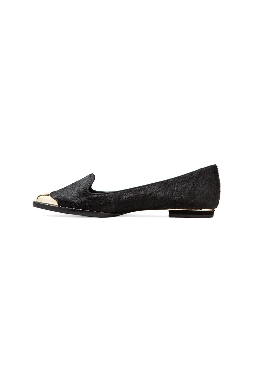 Schutz Bahia Loafer with Calf Fur in Black