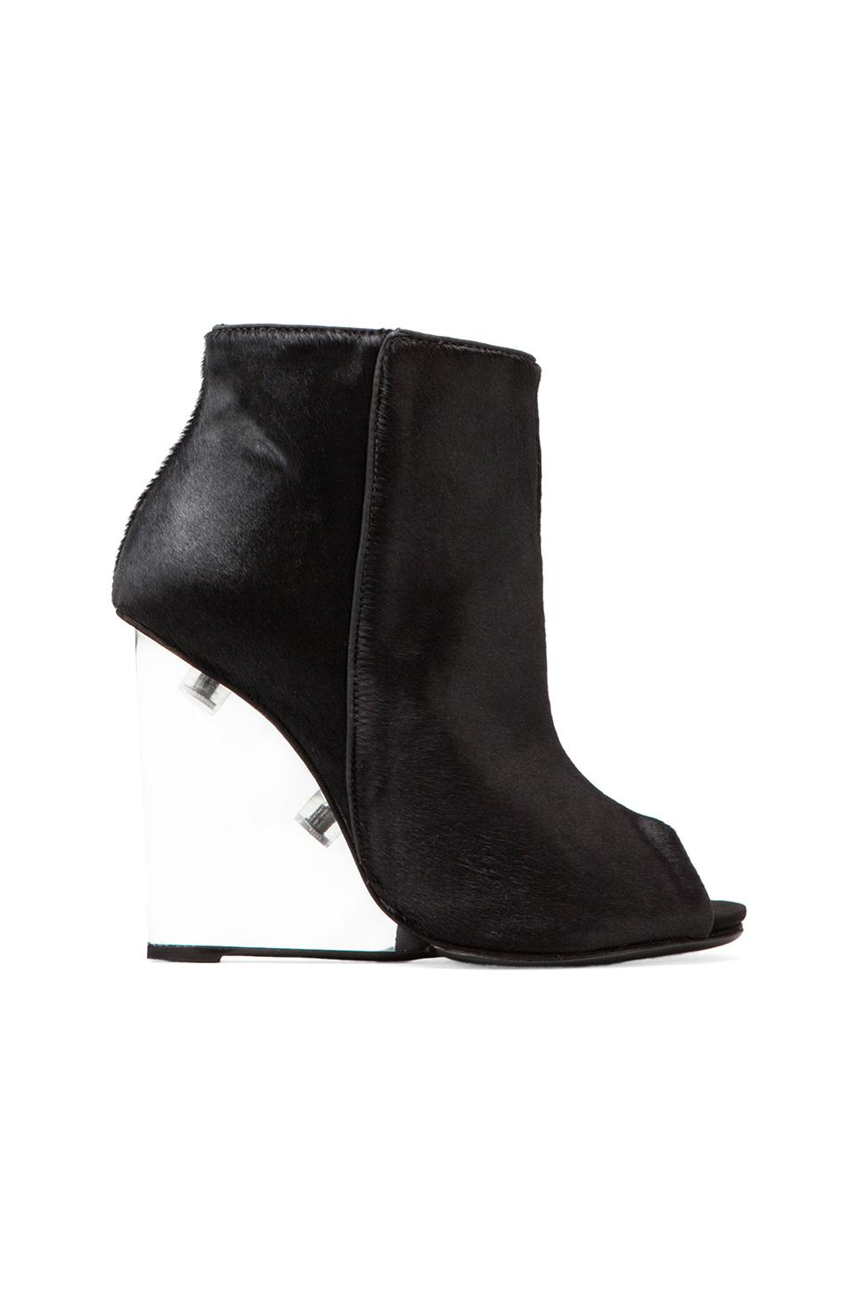 Schutz Briann Bootie with Calf Fur in Black