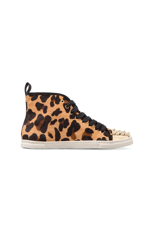Schutz Aima Sneaker with Calf Fur in Natural/Black