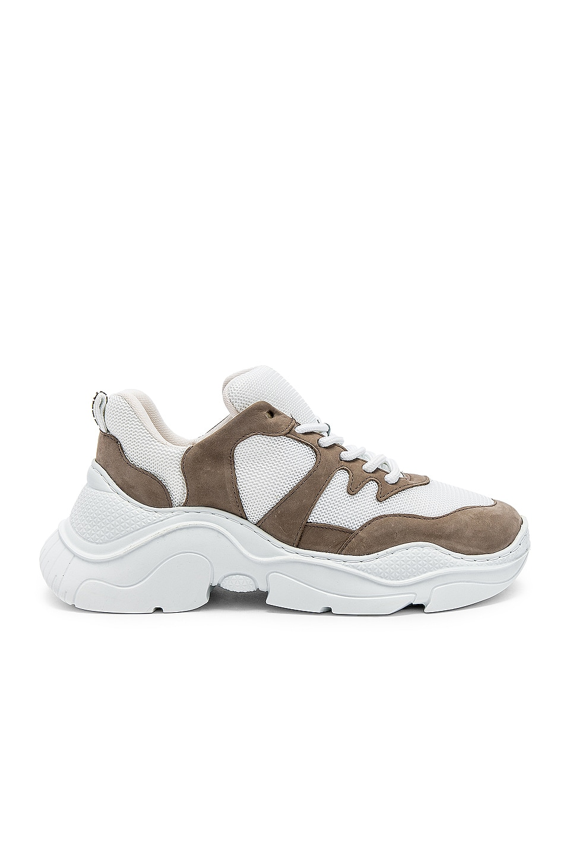 Schutz Jackye Sneaker in White & Taupe