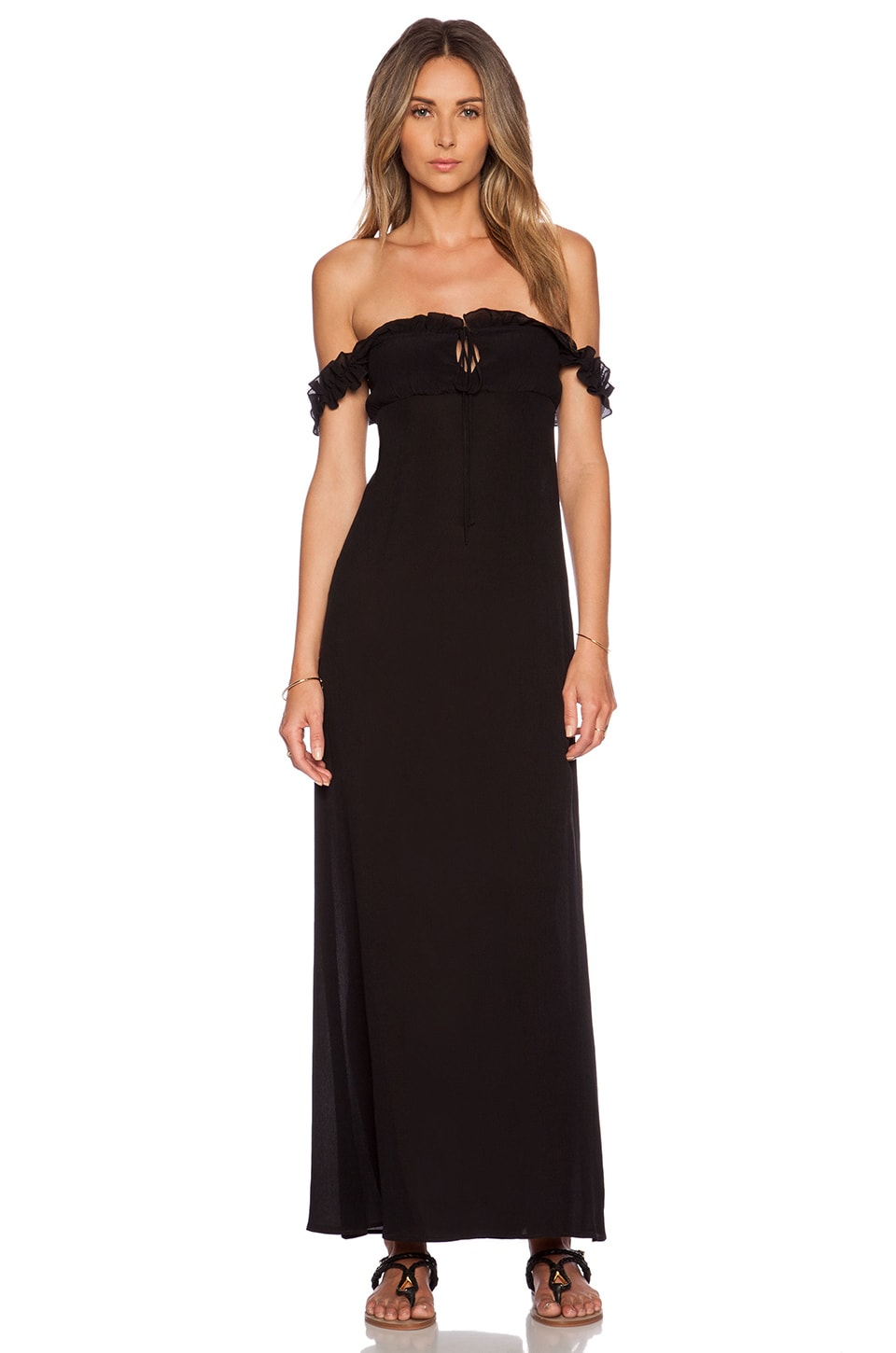 STONE_COLD_FOX Brooks Gown in Black Crinkle