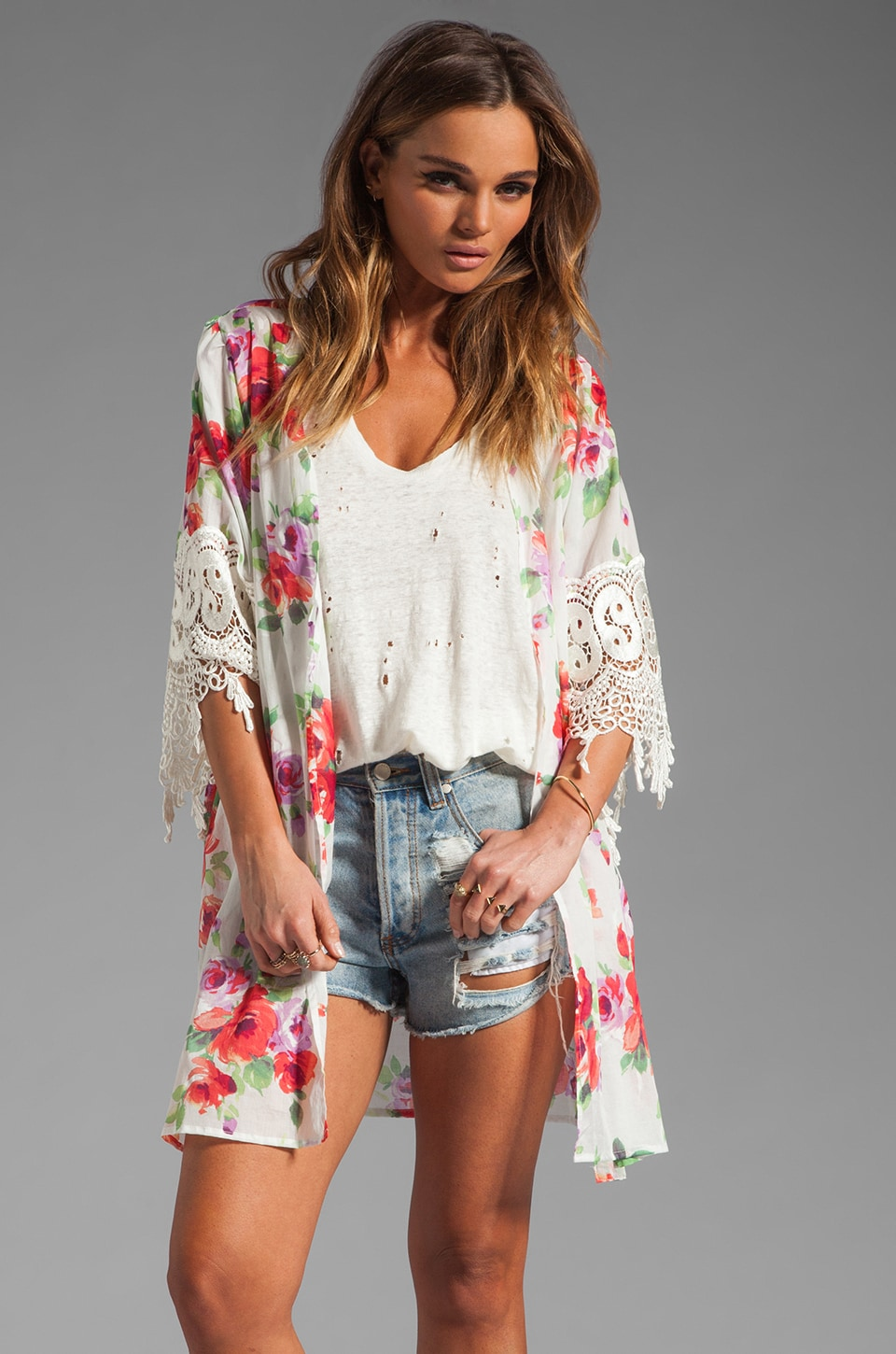 STONE_COLD_FOX REVOLVE Exclusive Lace Trim Robe in Country Floral
