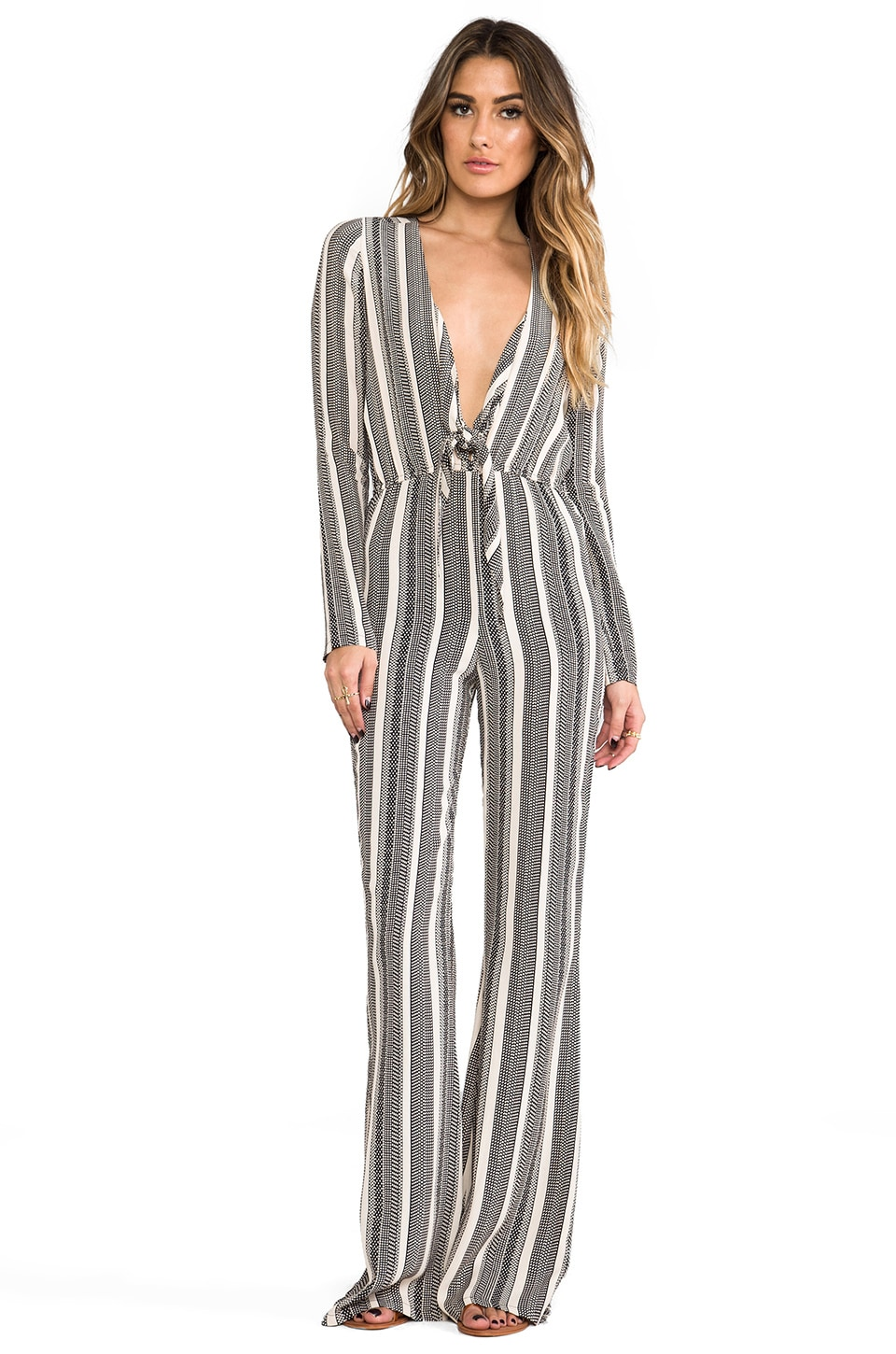 STONE_COLD_FOX Stardust Jumpsuit in Black & Ivory Stripe