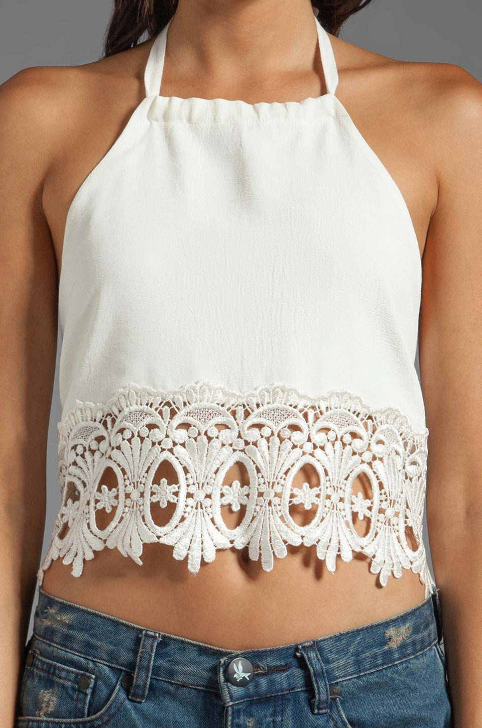 STONE_COLD_FOX Guerrilla Lace Crop Top in White