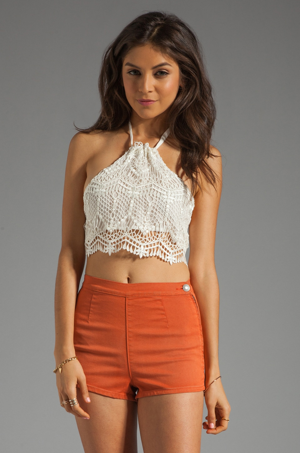 STONE_COLD_FOX Pure Crop Top in White Lace
