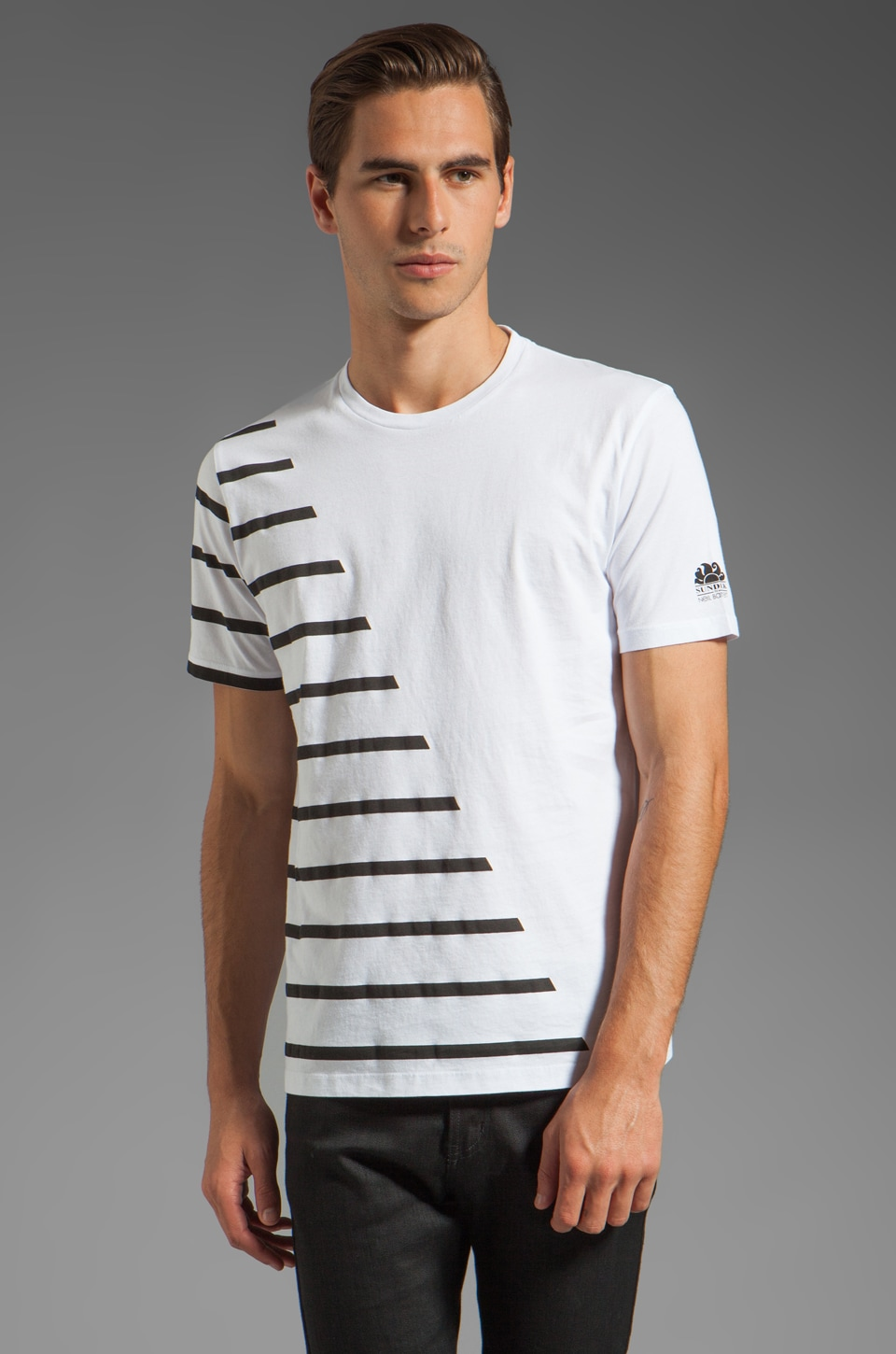 Sundek by Neil Barrett Blocked Striping Crew Neck in White