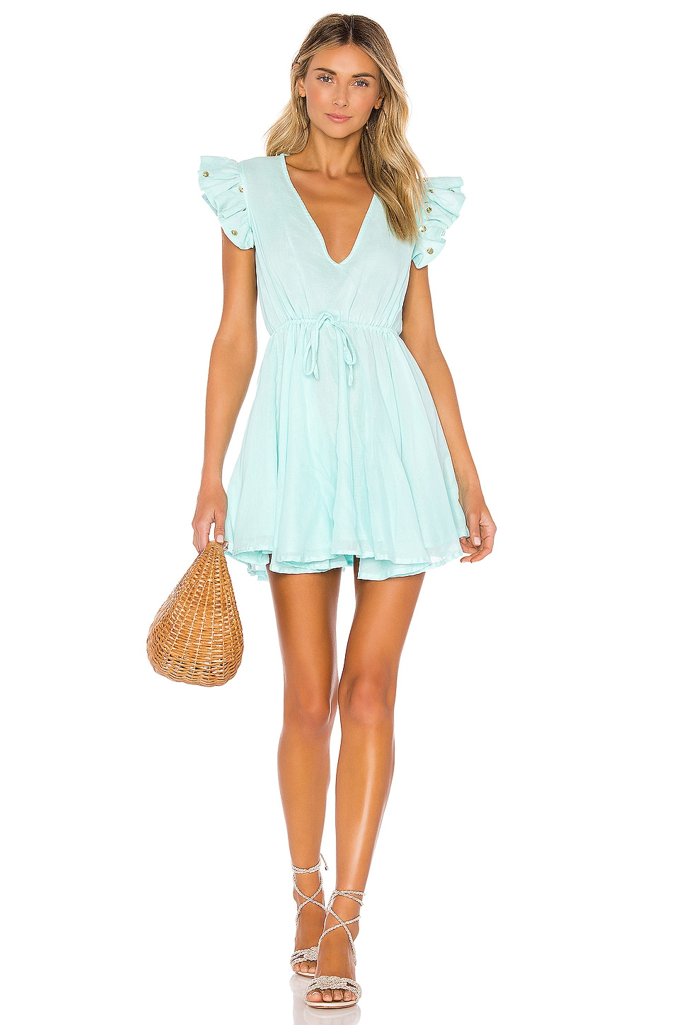 Sundress Viki Dress in Aqua & Jasmine Details