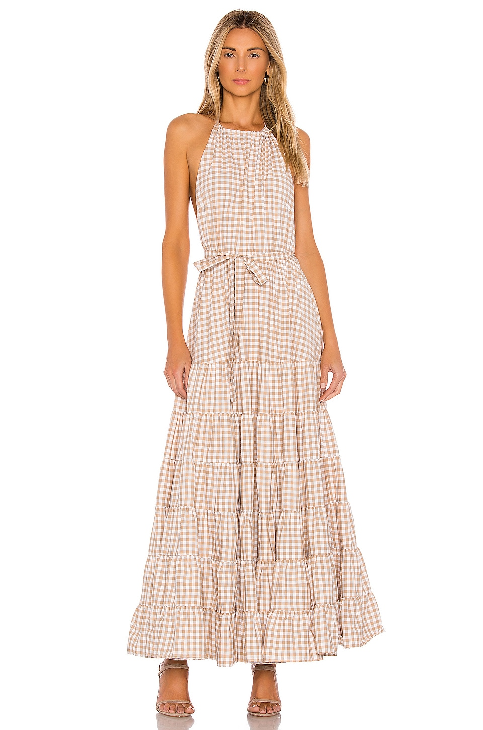 Sundress Neptune Maxi Dress in Gingham Beige