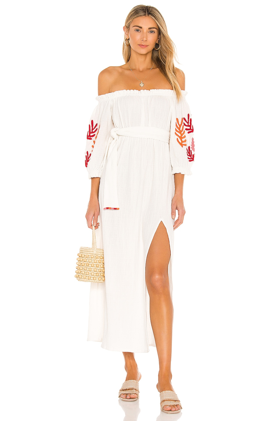 Sundress Poly Dress in Tulum White & Mix Red Embroideries