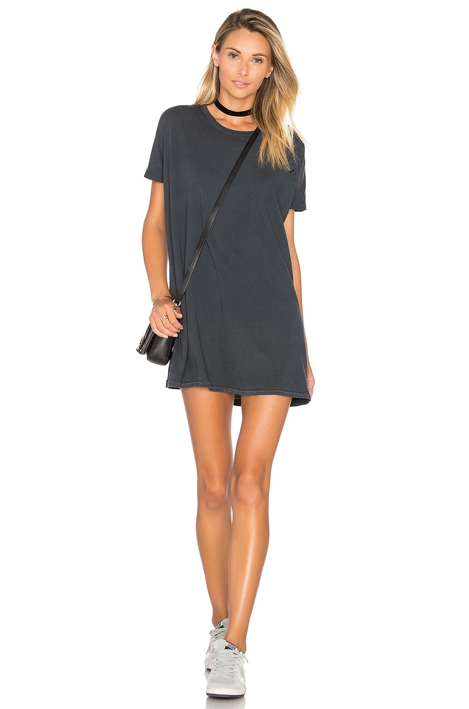 SUNDRY Distressed Tunic Tee Dress in Sun Faded Black