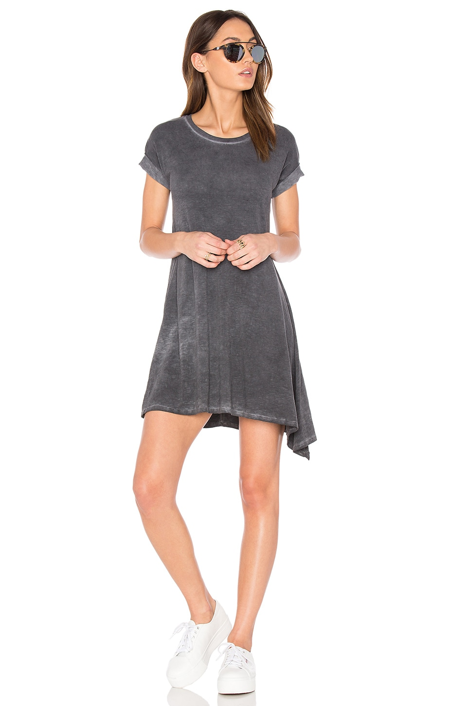 SUNDRY Asymmetrical Dress in Oil Wash Black