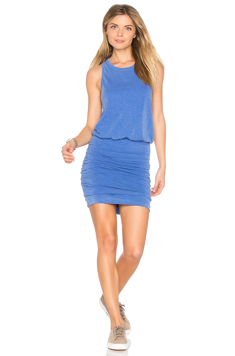 SUNDRY Ruched Tank Dress in Pigment French Blue