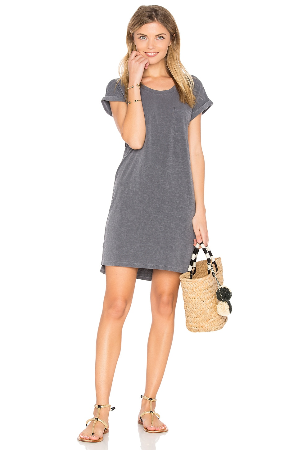 SUNDRY Roll Sleeve Tee Dress in Pigment Black