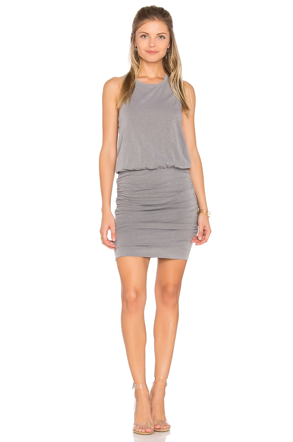 SUNDRY Ruched Tank Dress in Pigment Olive