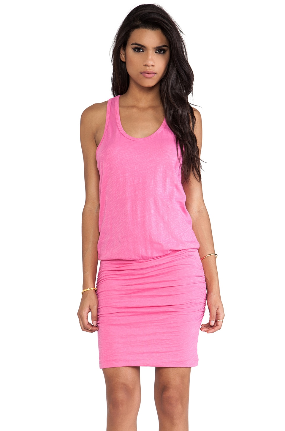 SUNDRY Rushed Tank Dress in Caranation