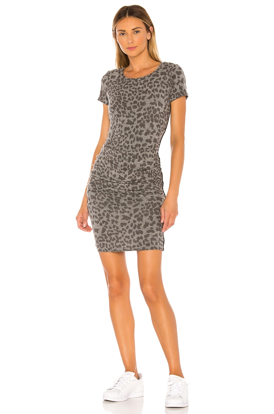 SUNDRY Leopard Print Ruched Dress in Charcoal