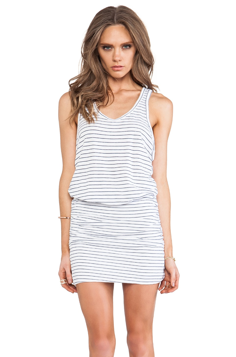 SUNDRY Rushed Tank Dress in White Stripe