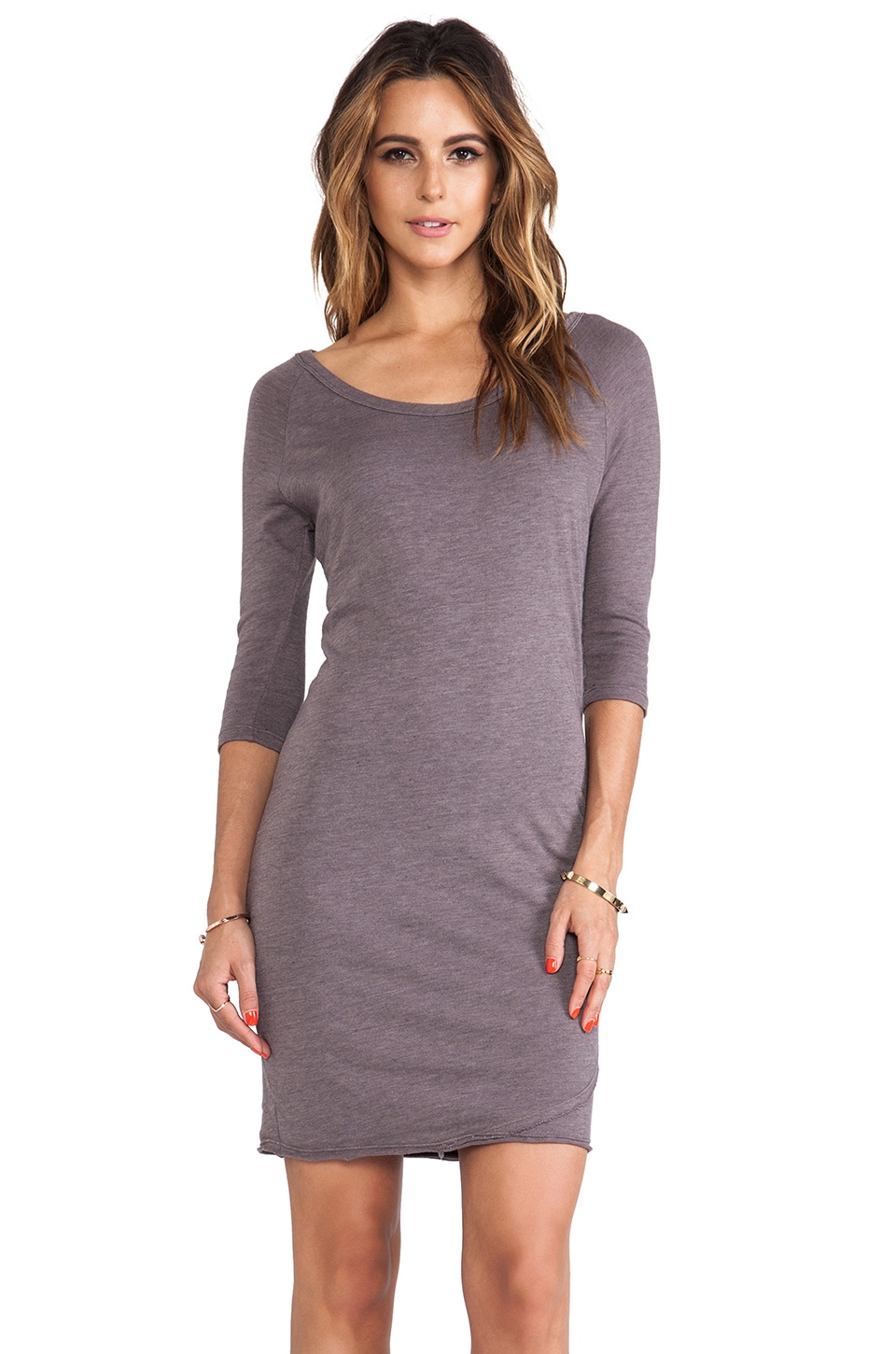 SUNDRY Side Ruched Dress in Sunset Grey