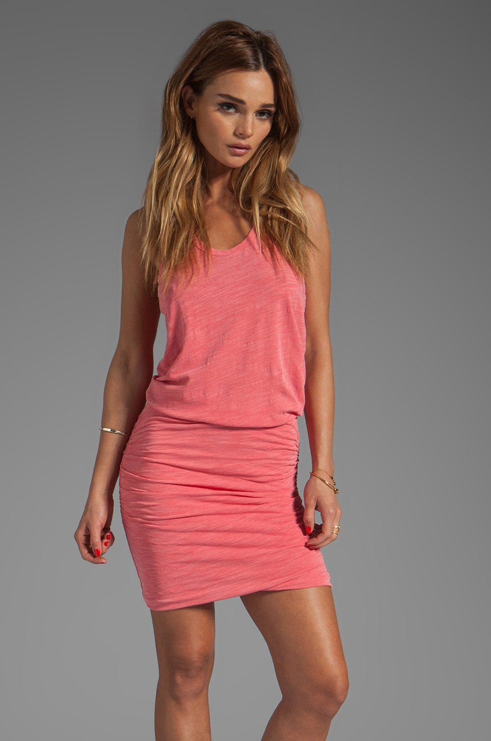 SUNDRY Runched Tank Dress in Sailor Red
