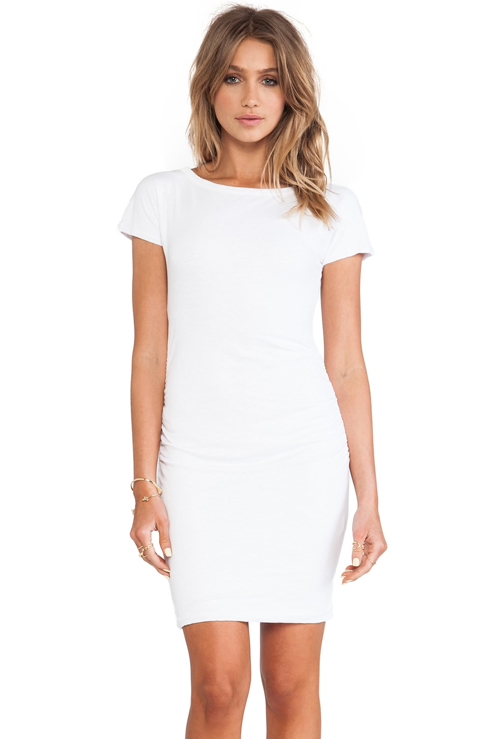 SUNDRY Boat Neck Ruched Dress in White