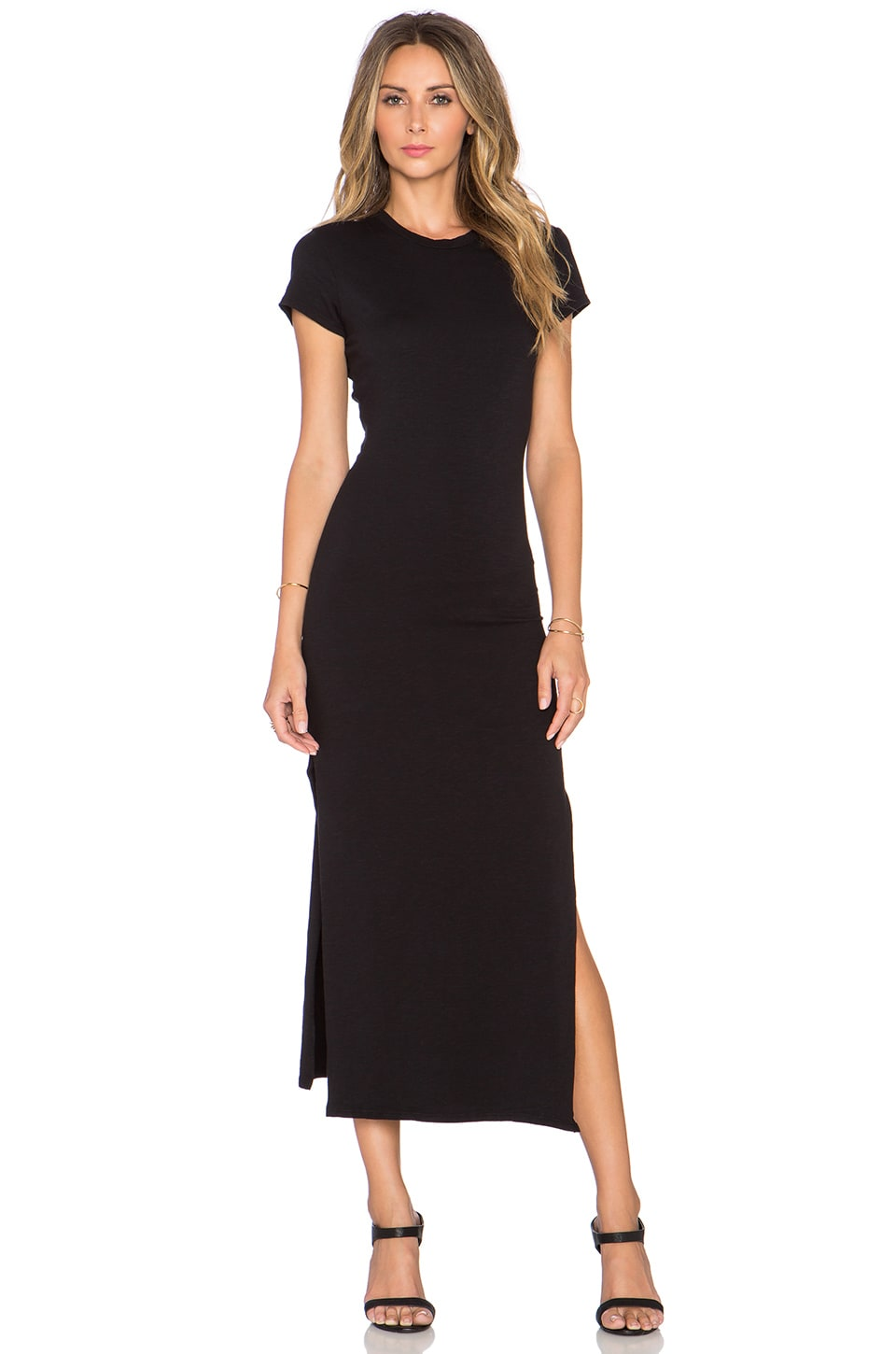 SUNDRY Slit Tee Dress in Black Pigment