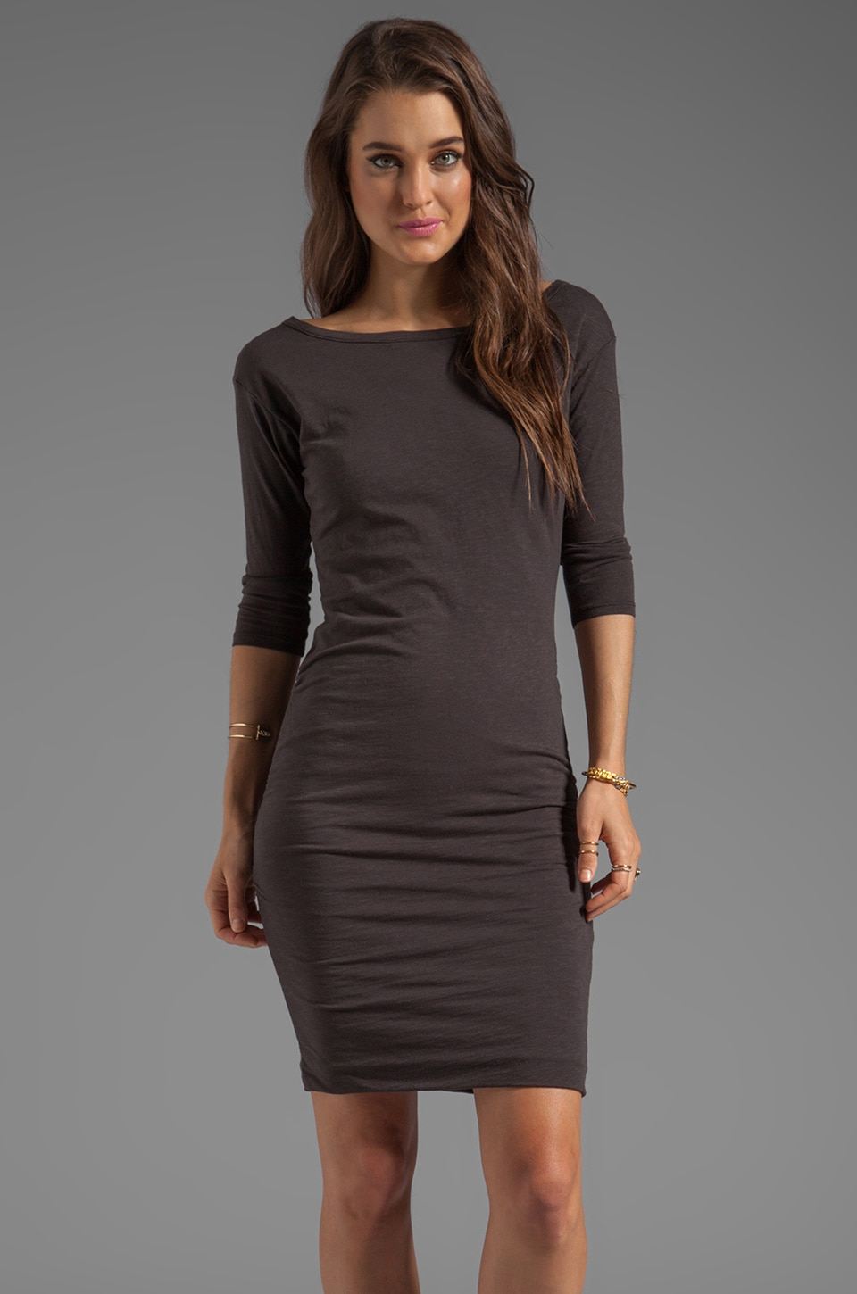 SUNDRY 3/4 Sleeved Ruched Dress in Old Black
