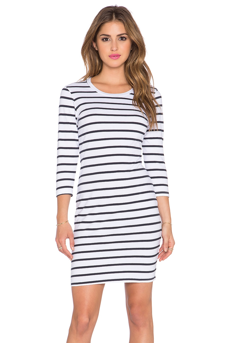SUNDRY Long Sleeve Stripe Dress in White