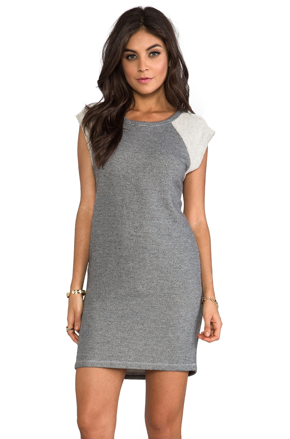 SUNDRY Terry Tee Dress in Heather Grey
