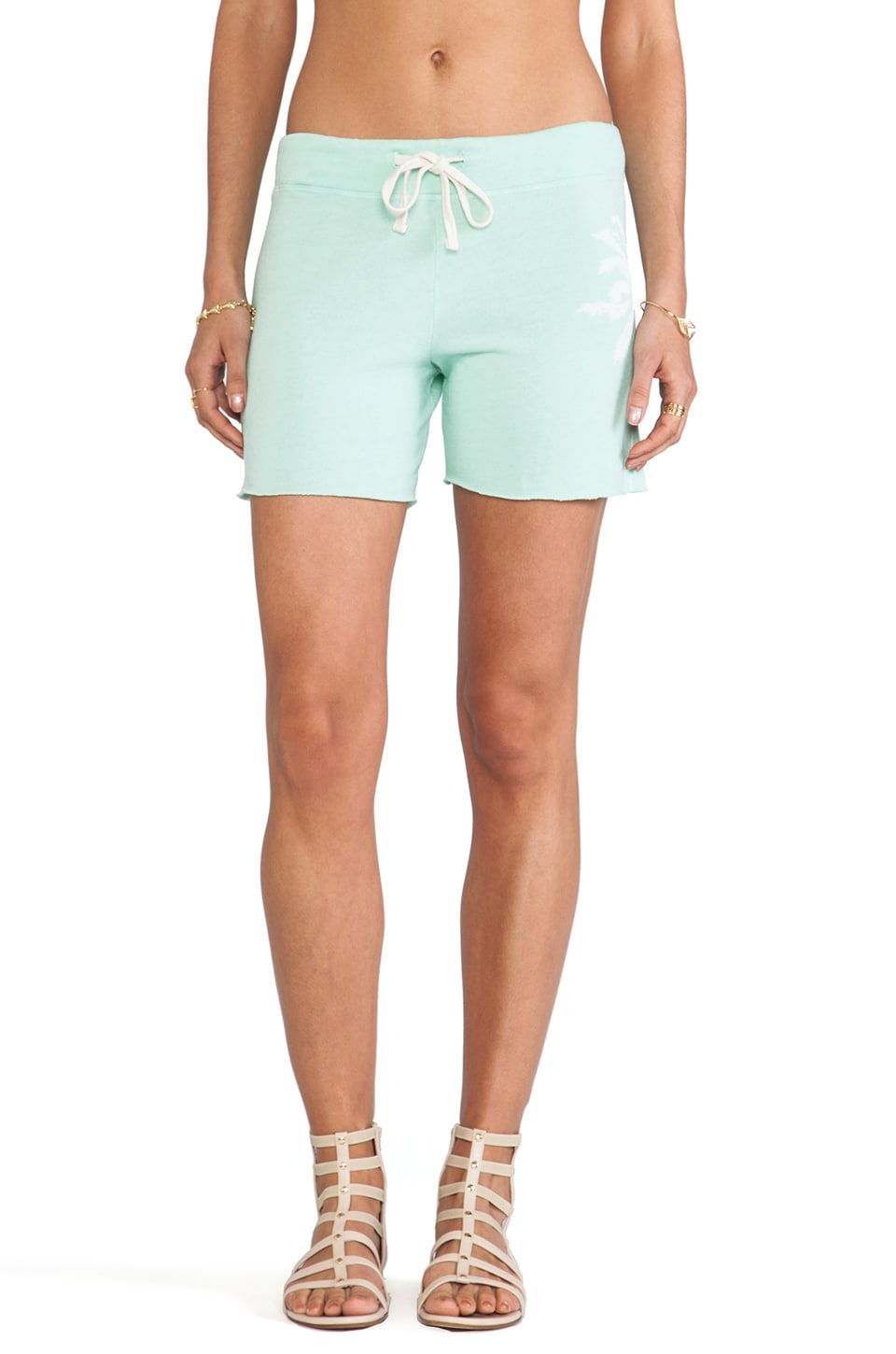 SUNDRY Palm Tree Sweatshorts in Dark Mint