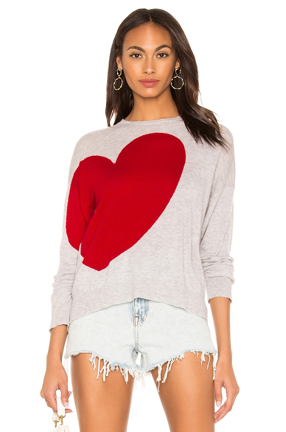 Sundry Sweaters HEART AND STAR CREWNECK SWEATER
