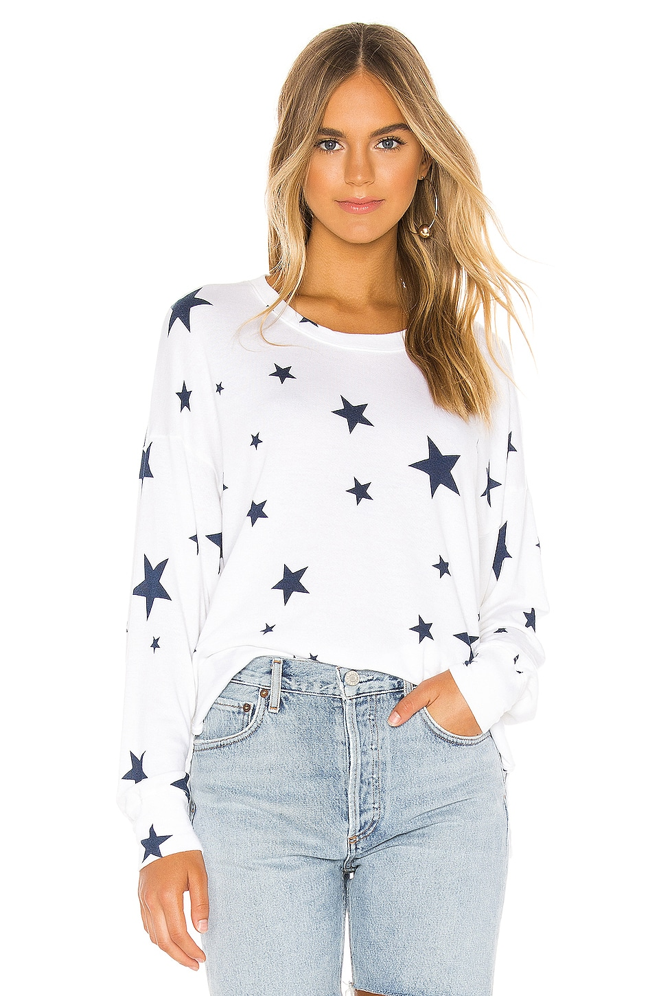 SUNDRY Star Hi Low Crewneck Pullover in White