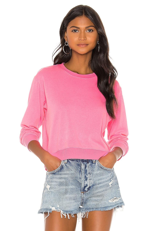 SUNDRY Crop Blouson Sweatshirt in Pigment Neon Pink