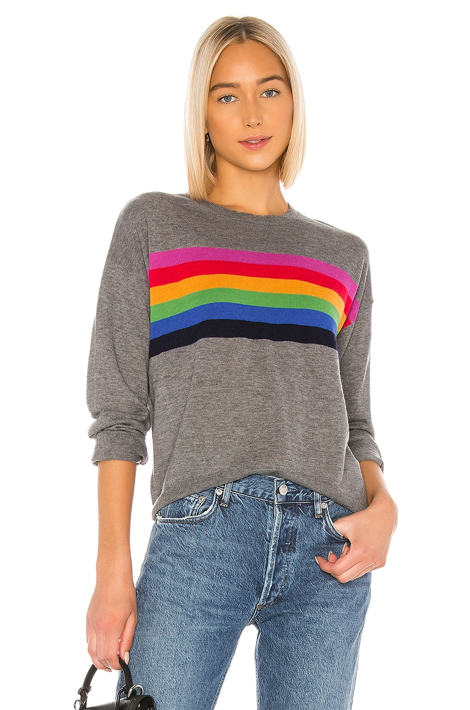 SUNDRY Rainbow Stripe Cashmere Blend Crew Neck Pullover in Charcoal