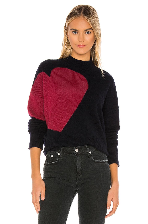 SUNDRY Big Heart & Star Turtleneck Sweater in Navy