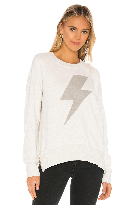 SUNDRY Lightning Bolt Double Zip Oversized Sweatshirt in Light Grey