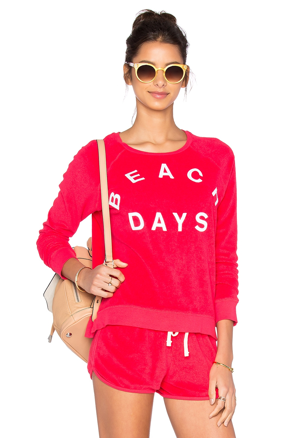 SUNDRY Beach Days Pullover Top in Hibiscus
