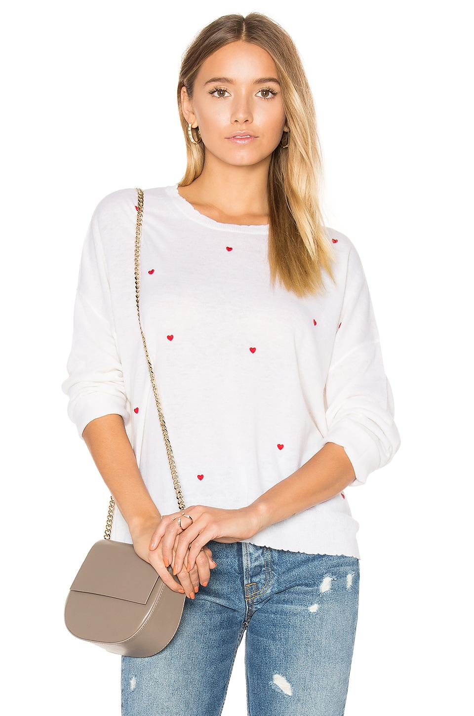 SUNDRY Little Hearts Cashmere Sweater in Cream