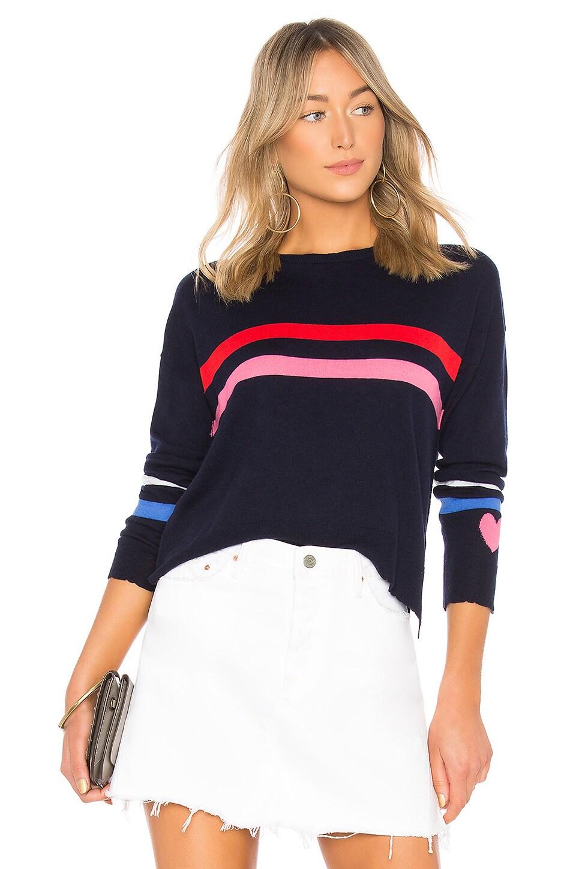 Stripes + Heart Cashmere Blend Crew Neck