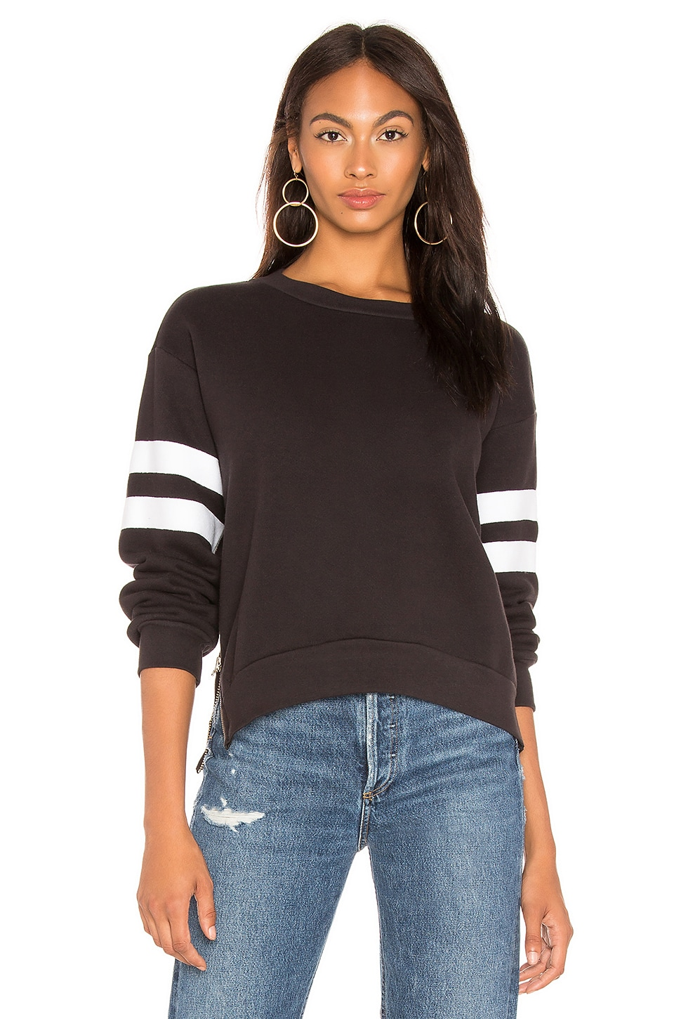 Side Zipper Crewneck Sweatshirt