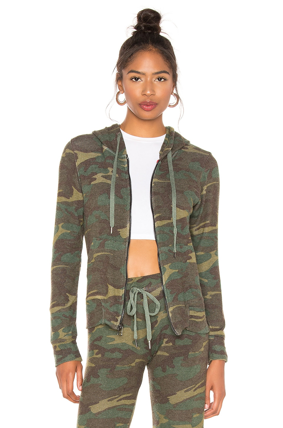 SUNDRY Camo Zip Hoodie in Army